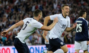 Rickie Lambert celebrates scoring for England